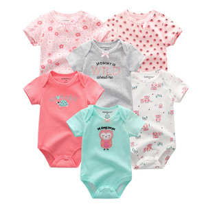 Image 3 - 6 Stks/partij Pasgeboren Baby Body Korte Sleevele Babykleertjes O hals 0 12M Baby Jumpsuit 100% Katoenen Baby Kleding baby Sets
