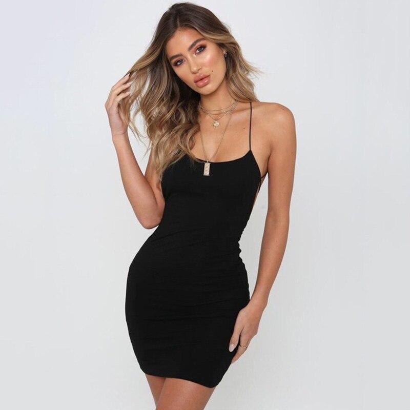 2020 Summer Dresses Women Sexy Backless Spaghetti Strap Night Club Dress Sleeveless Bodycon Fashion Party Mini Dress Black White 2