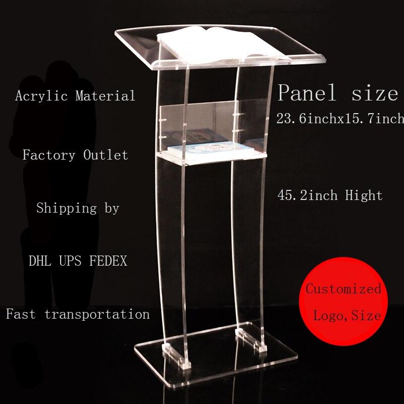 Простой и прозрачный акриловый подиум, приветственная платформа, подиум, стол для консультации, стойка для приема, говорящая платформа для