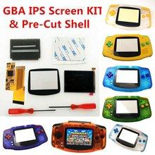 V2 ips retroiluminação lcd kits 10 níveis de brilho lcd para gameboy advance console para gba e colorido pré-corte caso escudo