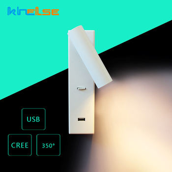 LED Wall Lamp CREE Adjustable USB Charger Wall Mounted Sconce Bedroom Bedside Children Reading Wall Light DC5V 2.1A White Fixtur