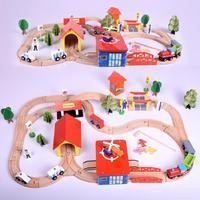 2019 New 69 Pieces / Set of Wooden Railway Train Track Set Diy Standard Electronic Locomotive Track Children Toys Birthday Gift