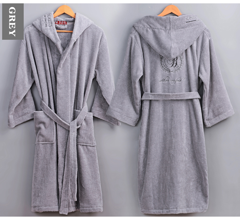 Winter Cotton Bathrobe Men Male Hooded Thick Warm Dressing Gown Men's Home Hotel Wedding Bridesmaid Robe Gray High Quality