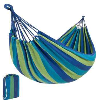 Portable Canvas Hammock Lightweight Garden Hanging Bed 1-2 Person Camping Sleeping Swing for Outdoor Furniture with Storage Bag - DISCOUNT ITEM  50 OFF Furniture