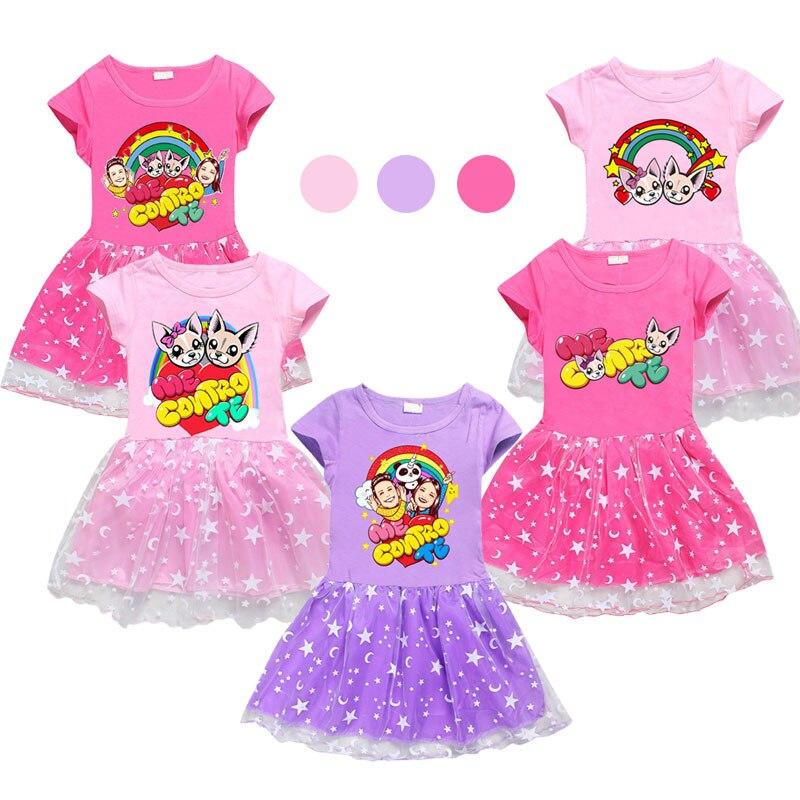 2021 me contro te Cartoon Christmas Dress Stars moon Girl Princess Costume As a Casual Toddler Girl Dresses Birthday Clothing
