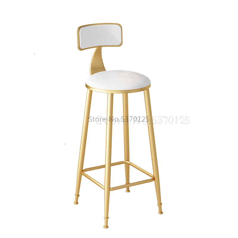 Nordic Modern Minimalist Wrought Iron Bar Stool High Stools Home Back Dining Chair Cafe Bar Chair Bar Stool