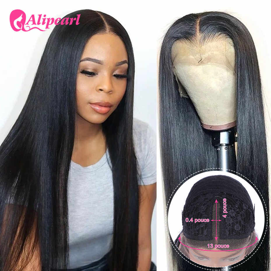 AliPearl Hair Lace Part Wigs Peruvian Straight Human Hair Wig Pre Plucked For Black Woman 150% 180% Density Ali Pearl Lace Wigs