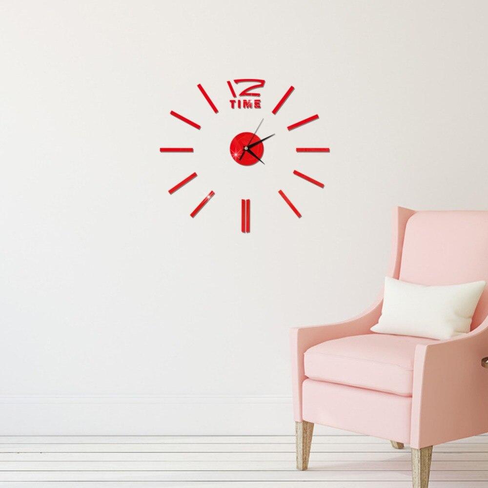 3D Wall Clock Mirror Wall Stickers Fashion Living Room Quartz Watch DIY Home Decoration Clocks Sticker reloj de pared 22