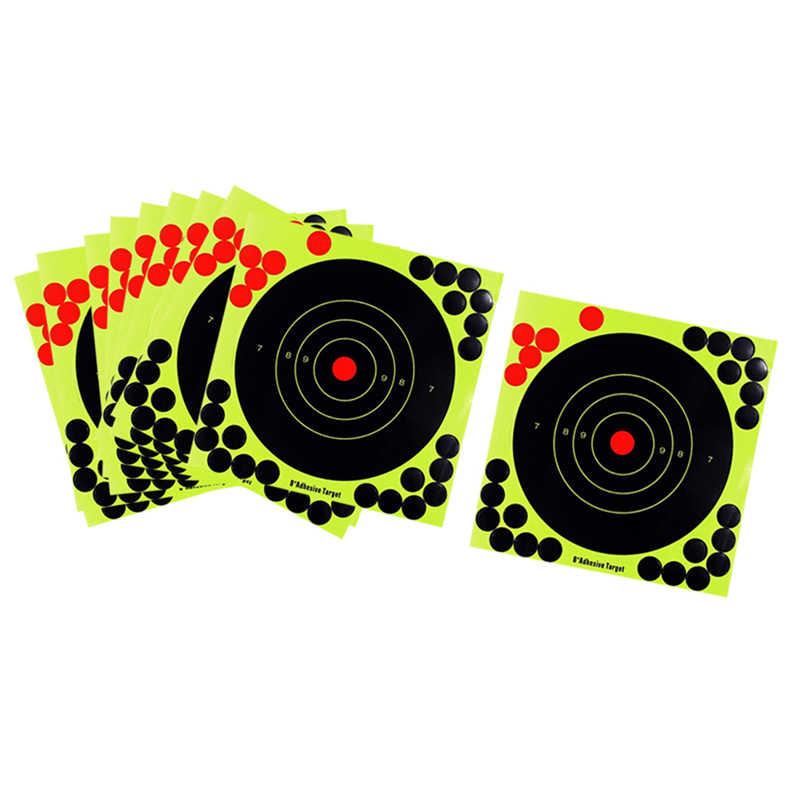 Silueta de 8 pulgadas, tiro reactivo, ráfaga fluorescente brillante, amarillo sobre el impacto, pistola, Rifle, pistola, Airsoft