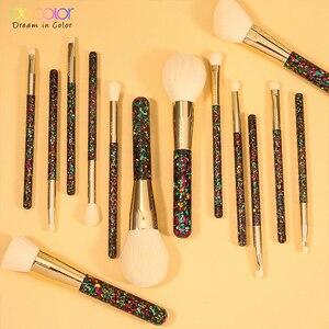 Image 5 - Docolor 14 sztuk boże narodzenie pędzle do makijażu profesjonalny Powder Foundation Eyeshadow zestaw pędzli do makijażu włosy syntetyczne narzędzie kosmetyczne