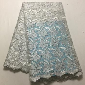 Hot Selling 100% Cotton African Dry Lace Fabric white Nigerian Lace Fabric High Quality stone Swiss Voile fabric FFP1028