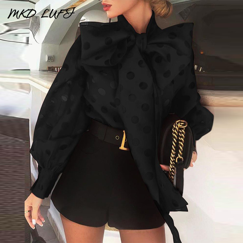 Ladies Elegant Tied Neck Blouse Tops Workwear Women Dot Hollow Out Lantern Sleeve Knotted Blouses
