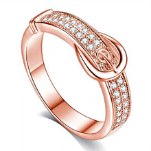 Exquisite Rose Gold Wedding Ring White Zircon Crystal Cocktail Party Women's Rings Engagement Ring Anniversary Jewelry exquisite gold red crystal engagement ring women s cocktail party ring bridal engagement wedding ring anniversary gift jewelry