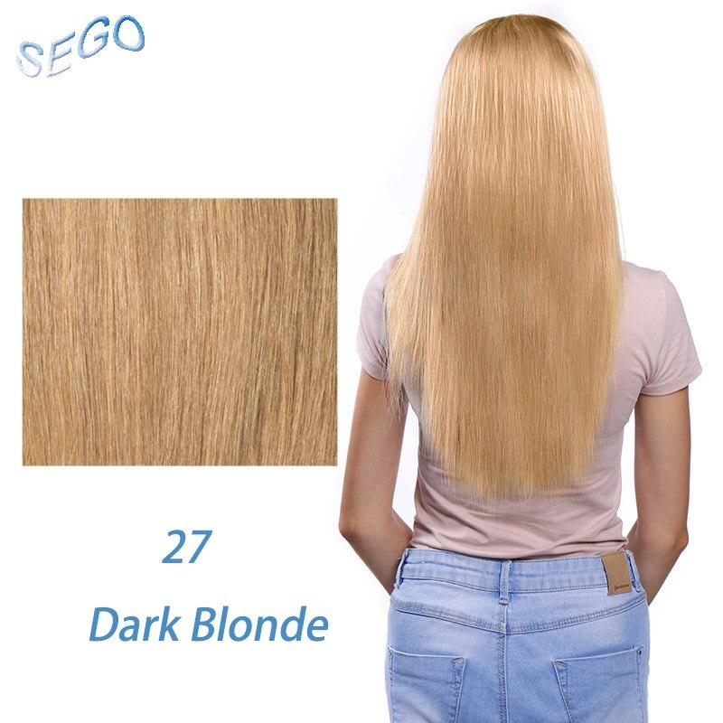 """SEGO 1""""-22"""" 70 г Прямой зажим синтетических Пряди человеческих волос для наращивания фабричного производства-Реми 7 шт./компл. бразильский волос чистый и фортепиано Цвет - Цвет: #27"""