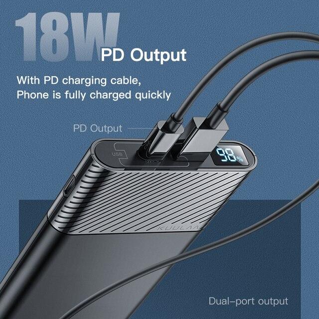 KUULAA Power Bank 10000mAh QC PD 3.0 PoverBank Fast Charging PowerBank 10000 mAh USB External Battery Charger For Xiaomi Mi 10 2