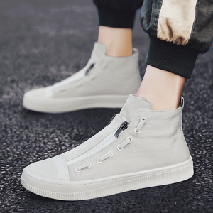 Image 5 - 2019 New High Top White Gray Black Men Canvas Shoes Men Casual Designer Fashion Luxury Flat Slip On Chaussure Homme Shoes