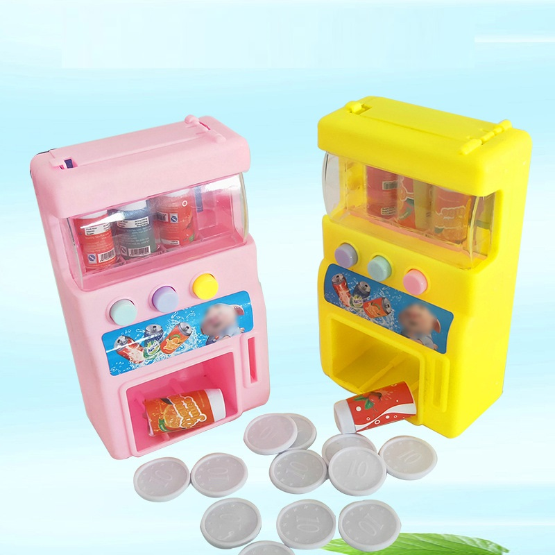 Hot-selling Children's Simulation Mini-coin-operated Beverage Vending Machine Self-service Beverage Cute Funny Toys For Children