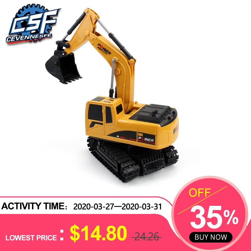 6 Channel Remote Control Excavator Rechargeable Toy Construction Tractor With Light Toys