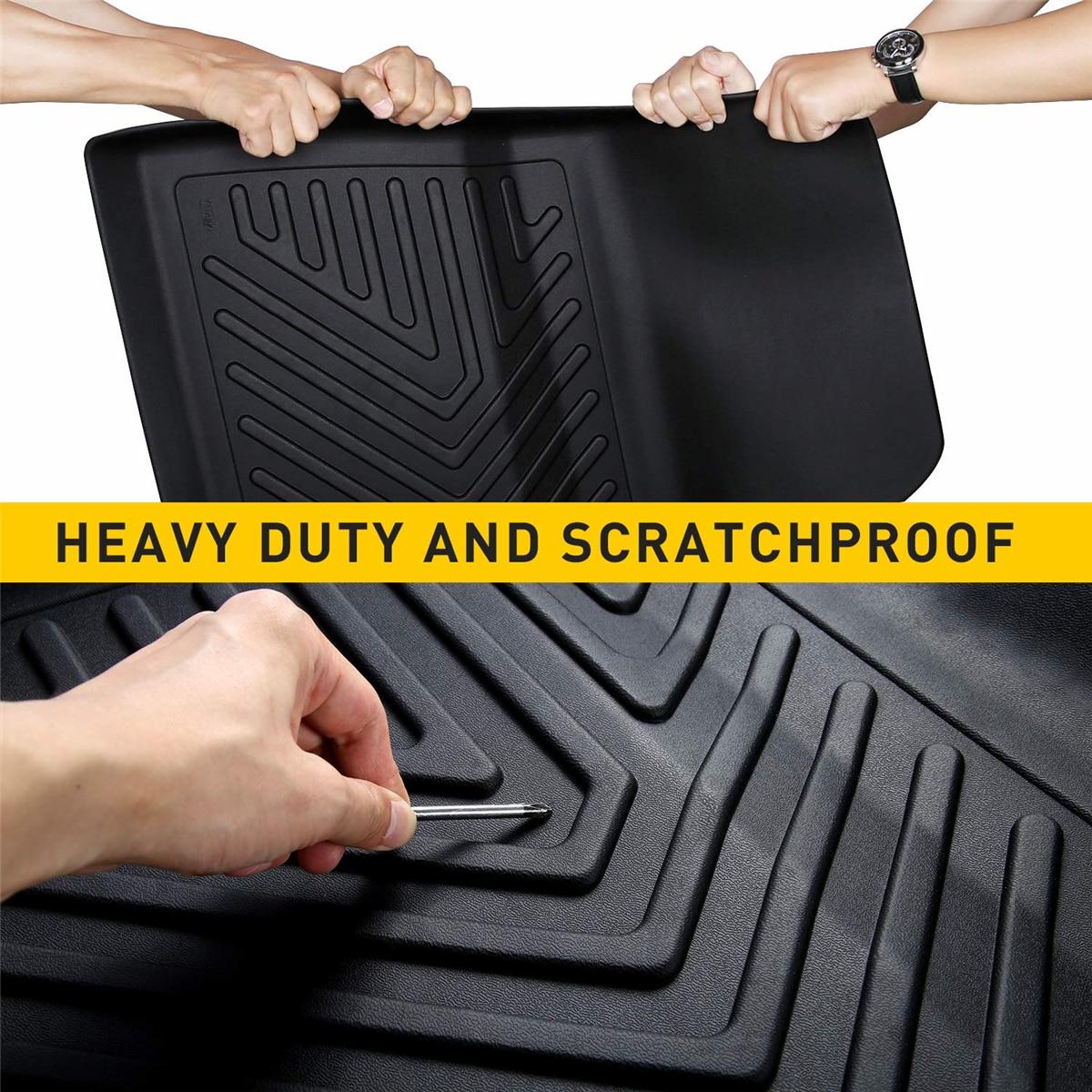 Audew 3 pièces TPO avant et arrière noir tapis de sol de voiture personnalisé ajustement tous temps tapis de sol couverture pour Tesla modèle 3 imperméable à l'eau Durable - 4