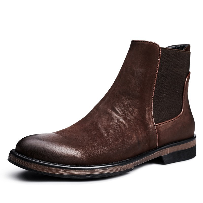 Retro Chelsea Boots Men High Top Genuine Leather Shoes British Business Slip On  Booties Winter Cotton Shoes Plus Size