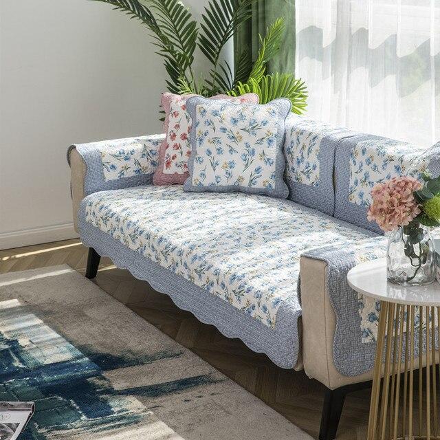 Фото korean style printed sofa cover four seasons pastoral cotton