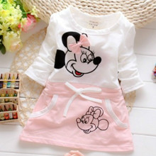 2018 New Fashion Girls' Dress Suit For Baby's 100% Pure Cotton Summer Minnie Beauty Princess T-shirt