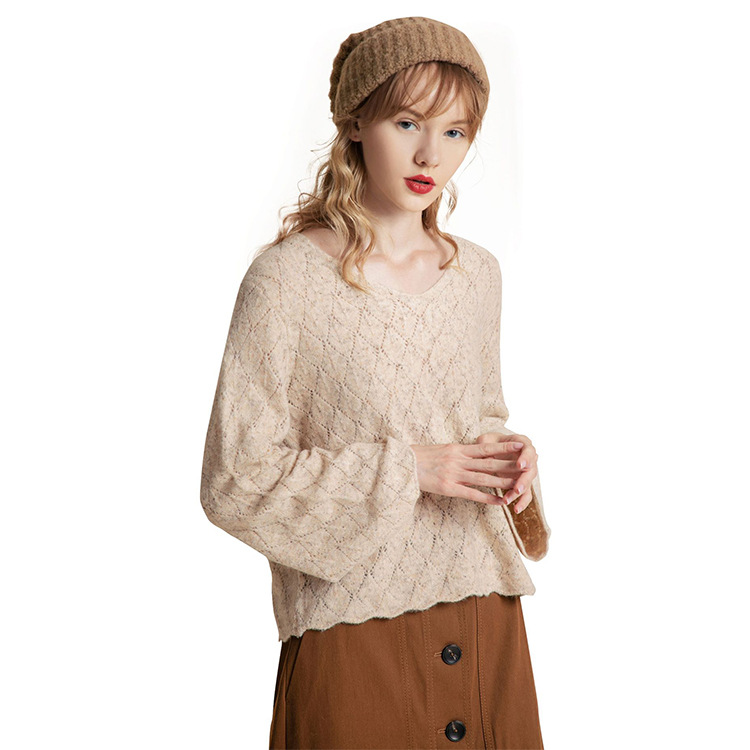 French Style Bell Sleeve Crochet Top Women Vintage Wool Blended V Neck Eyelet Sweater