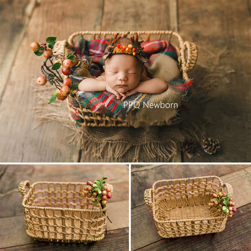 Newborn Photography Props Baby Photo Basket Posing Props Infantil Woven Baskets With Ears Baby Shoot Accessories Creative Props