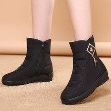 купить Winter Shoes Women Boots 2019 Solid Zipper Snow Boots Women Shoes Warm Plush Wedges Shoes Woman Ankle Boots Female Botas Mujer по цене 680.62 рублей