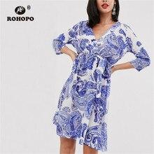 ROHOPO Sky Blue kimono Dress Half Sleeve Belted Floral Vintage Tunic Ladies Elegant Vestido #2365