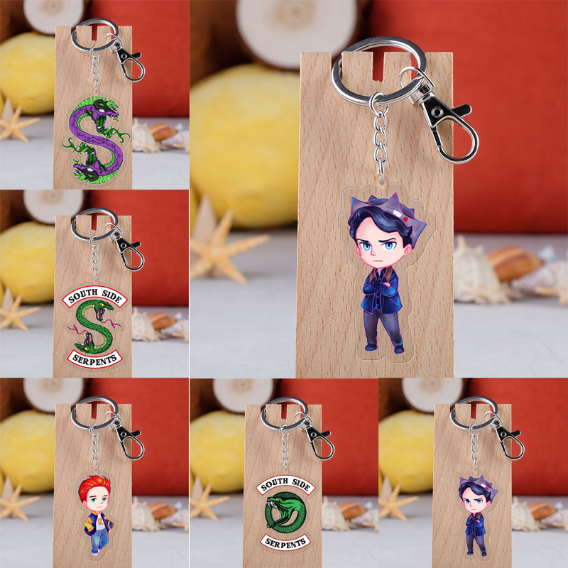 Movie Riverdale Lass Cabochon Keychains Couple Acrylic Pendants Key Ring Jewelry For Women Men