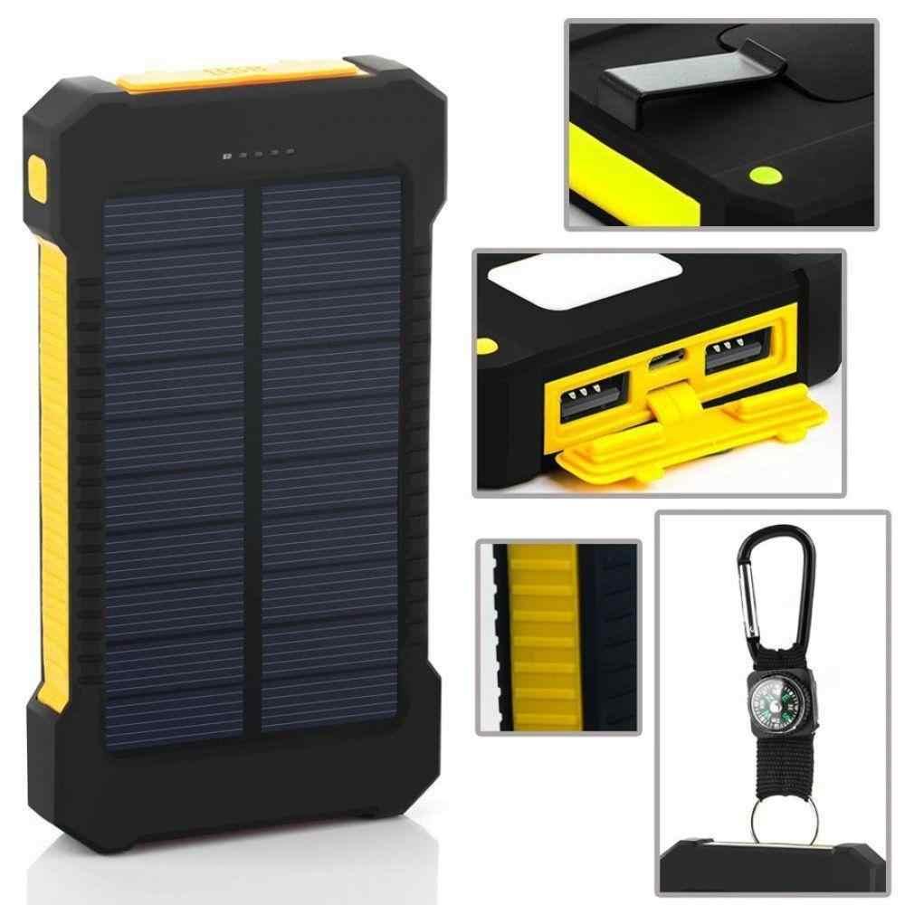 Banco de energía Solar a prueba de agua 30000mAh Cargador Solar puertos USB cargador externo Powerbank para Xiaomi Smartphone con luz LED