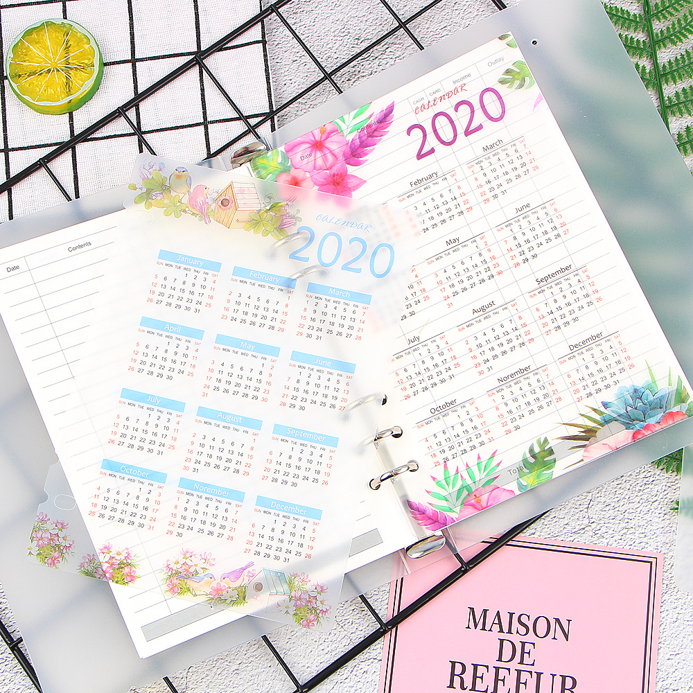 1 PCS 2020 Year Calendar 6 Holes Index Divider Diary Binder Weekly Planner Notebooks A5 A6 Office School Stationery Supplies