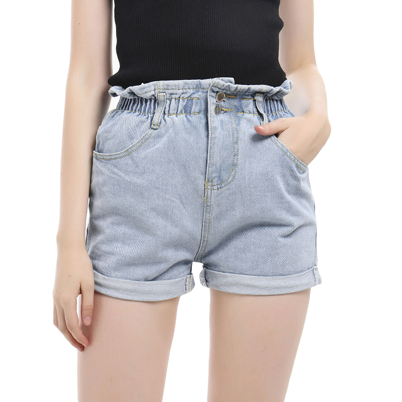 Fashion Roll Up Hem Elastic Waist Pocket Blue White Shorts Lady Casual Loose Jeans Shorts Women High Waist Denim Shorts