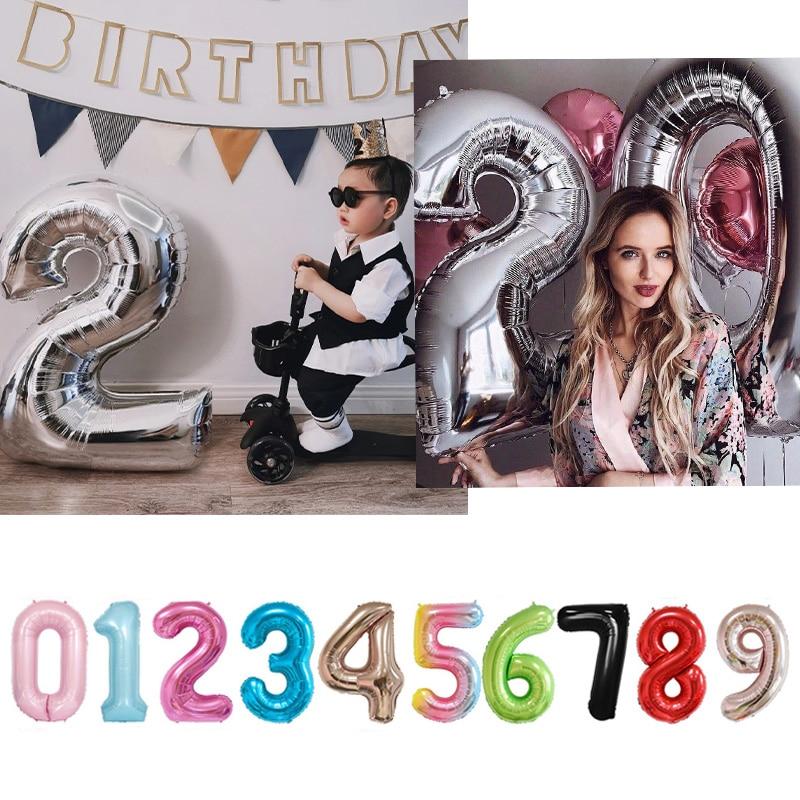 16 32 40 polegada número balão crianças aniversário festa de casamento suprimentos decorações do chuveiro do bebê balões digitais feliz newyear2021|Balões e acessórios|   -