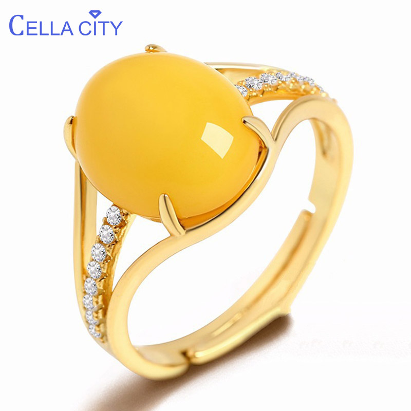Cellacity Ethnic style Silver 925 Jewelry Big Oval Yellow Amber Ring for Women Gemstones Opening adjustable Anniversary Gift
