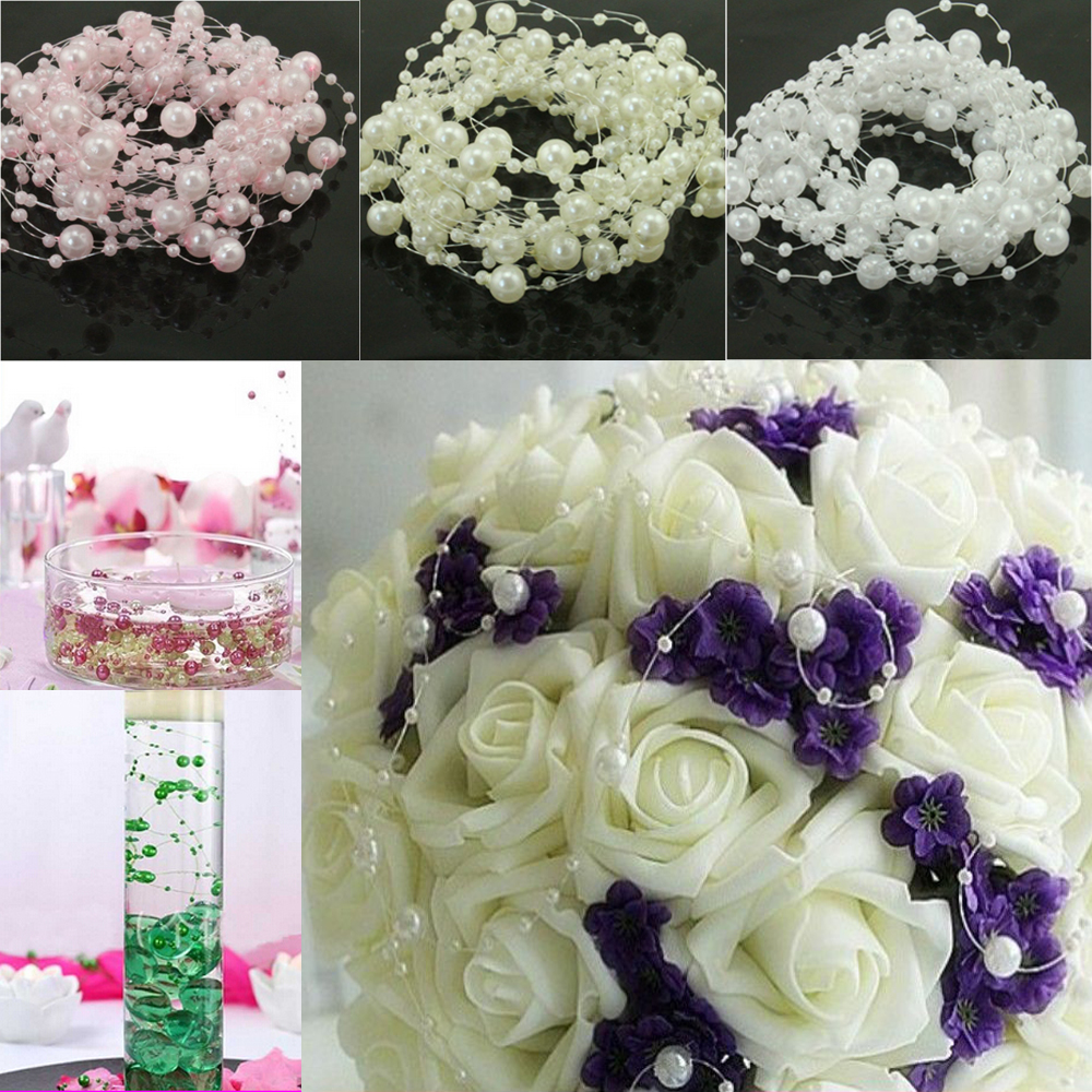 10FT 3 Meter White Ivory Pink Fishing Line Artificial Pearls Beads Chain Garland For Flowers DIY Wedding Party Decorations in Party DIY Decorations from Home Garden