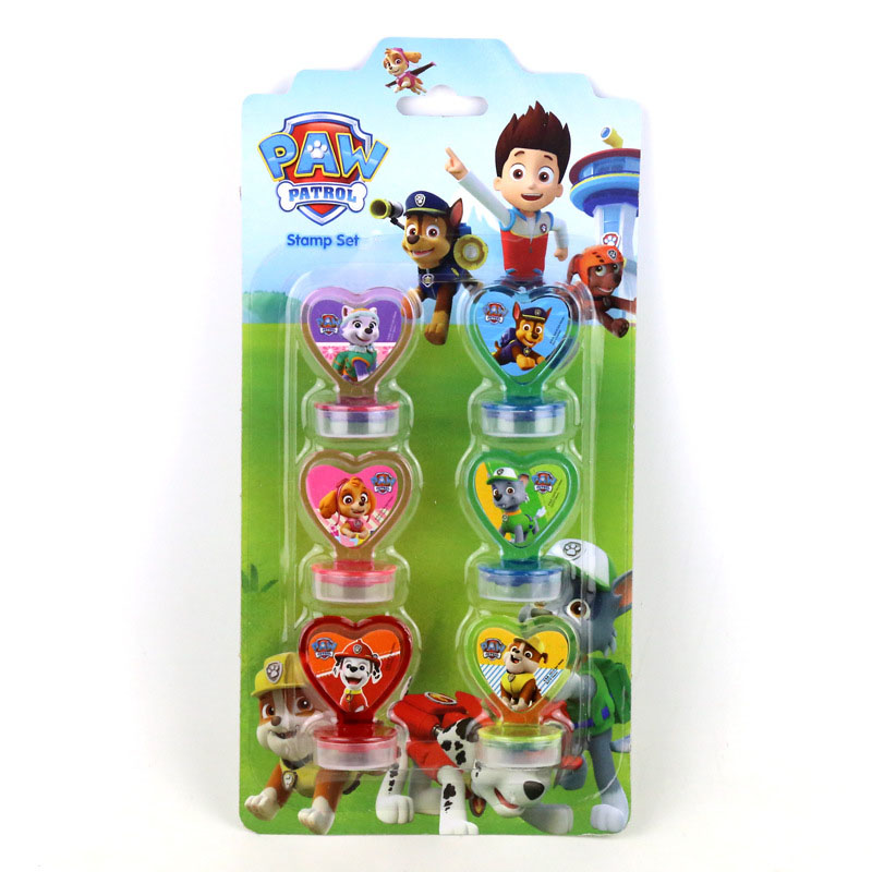 6pcs/set Paw Patrol New Cartoon Cute Child Patrulla Canina Handle Seal With Ink Safety Kids Toys For Children's Gifts S22