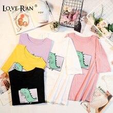 Women's Dinosaur Printed Loose T-shirt O-Neck Unisex Soft Female Tops Girls 2020 Summer Streetwear Casual Ladies T-Shirts
