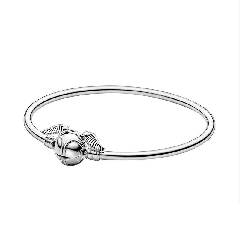 2020 New Original 925 Sterling Silver Harry Golden Snitch Bangle Basic Bracelet Fit Pan Charm Bracelet Women Girl DIY Jewelry