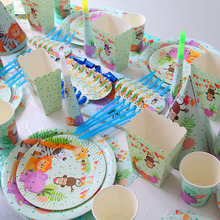 Jungle Birthday Party Disposable Tableware Animal Plates Cups Napkins Baby Shower Supplies Safari Decor
