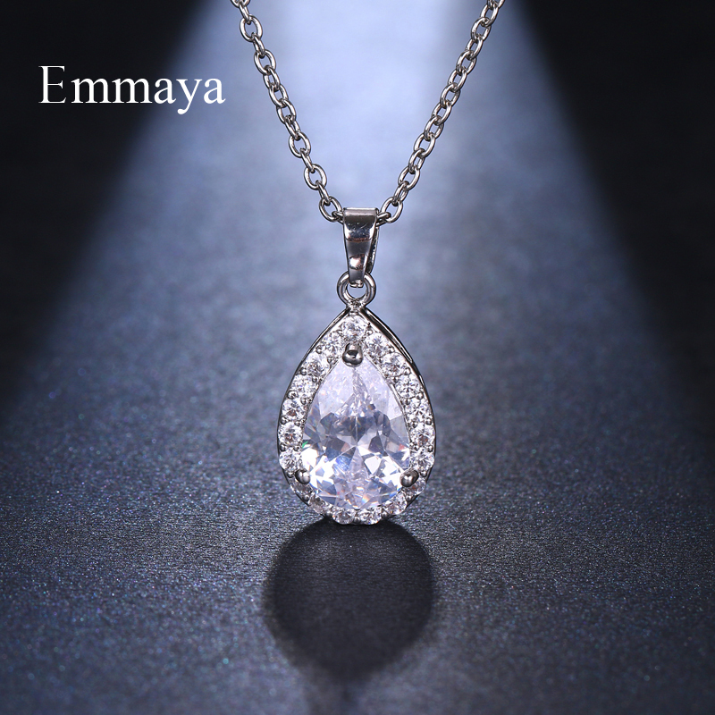Emmaya Fashion Zircon Necklaces For Women Silver Gold Rose Gold Wedding/Party Necklace Valentine's Day Gifts