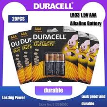 20 sztuk oryginalny Duracell LR03 1.5V AAA bateria alkaliczna do zabawek latarka elektryczna szczoteczka do zębów zegar mysz podstawowa sucha bateria