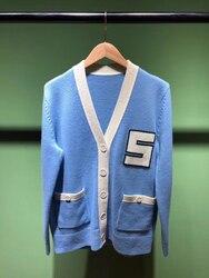 2020 Frühjahr neue v-ausschnitt brief stickerei frauen casual blau strickjacken mantel