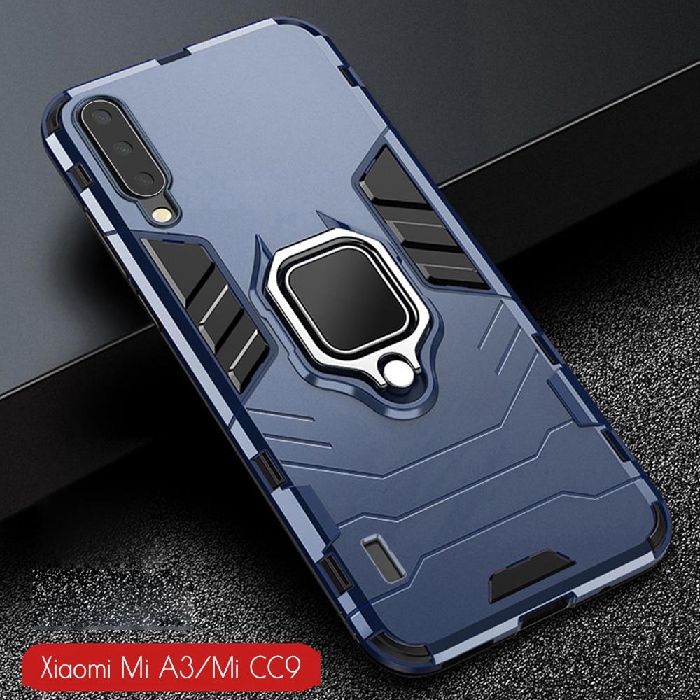H915578b537744459868d90ab8e68fc30Y For Xiaomi Mi A3 Case Armor PC Cover Finger Ring Holder Phone Case For Mi A 3/Mi CC9 CC 9e Cover Shockproof Bumper TPU Rim Shell