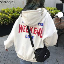 Hoodies Women Letter Printed Loose Hooded Trendy Pockets Plus Velvet Sweatshirts Womens Korean Style Harajuku All-match Chic(China)