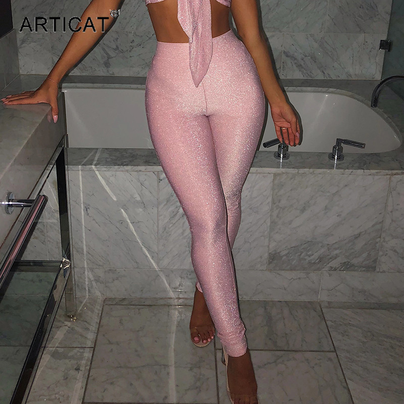 Articat High Waist Sparkly Pants Women Fashion 2020 Skinny Solid Pencil Pants Spring Woman Long Trousers Club Party Wear Clothes