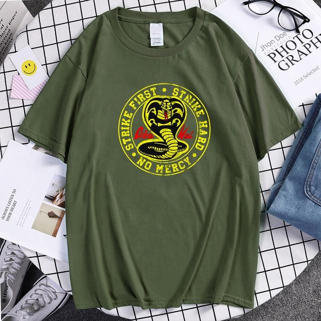 Cobra Kai T Shirt Men Strike First Strike Hard No Mercy Tshirt Shirts Cotton Summer Top Tshirts Short Sleeves Tees Black T-Shirt 1