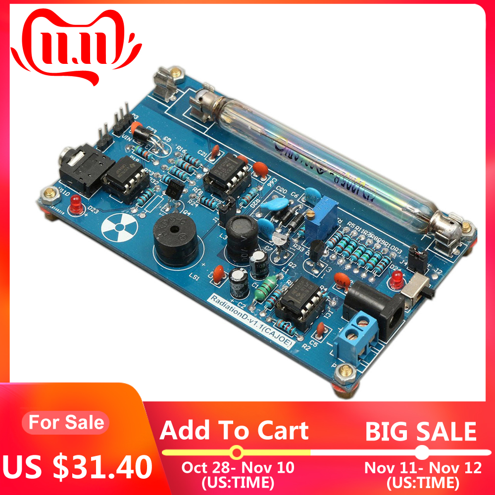 Assembled DIY Geiger Counter Kit Module Geiger Nuclear Radiation Detector Dosimeter Gamma Ray Build Radiation Monitoring Station