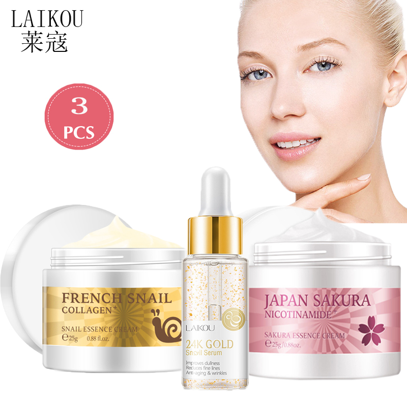 LAIKOU Snail Face Cream Serum Hyaluronic Acid Moisturizer Cream Set Nicotinamide Vitamin C Whitening Anti-wrinkle Anti-aging